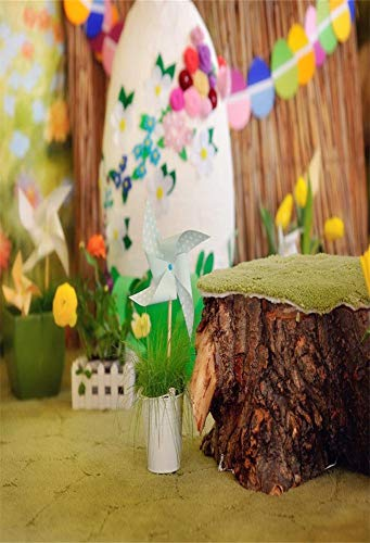 (Leyiyi Handmade Windmill 3x5ft Photography Background Dreamy Children Decoration Wooden Pole Chair Potted Plant Handmade Artwork Kindergarden Ornaments Children Baby Girl Portraits Studio Props)