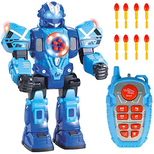 (Liberty Imports Large 10 Channel Remote Control Robot Police Toy with Flashing Lights and Sounds - RC Action Robot Shoots Darts, Walks, Talks, and Dances (10 Functions) )