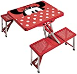 Disney Classics Minnie Mouse Portable Folding Picnic Table with Seating for 4, Red