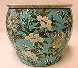 White Flower On Turquoise Porcelain Fish Bowl 14''