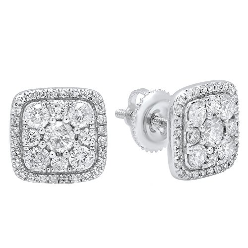 1.00 Carat (ctw) 10K White Gold Round White Diamond Ladies Cluster Style Stud Earrings 1 CT by DazzlingRock Collection