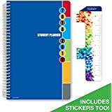 "Dated Middle School or High School Student Planner for Academic Year 2018-2019 (Matrix Style - 5.5""x8.5"" - Blue Colors Cover) - Bonus RULER / BOOKMARK and PLANNING STICKERS"