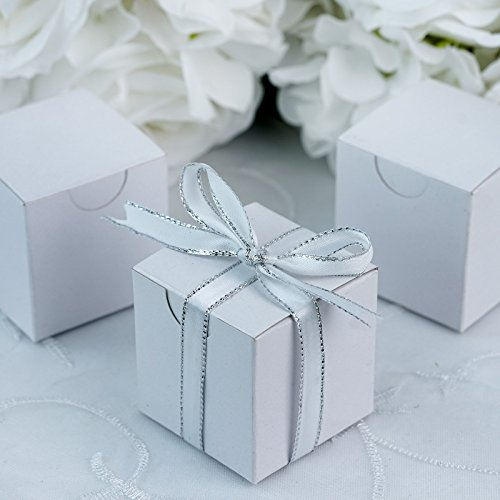 BalsaCircle 100 pcs 2-Inch White Wedding Favor Boxes for Wedding Party Birthday Candy Gifts Decorations Supplies Wholesale