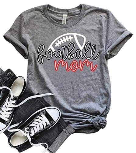 YUYUEYUE Football Mom Mama T Shirt Women Funny Graphic Summer Short Sleeve O-Neck Tops (X-Large, Gray)