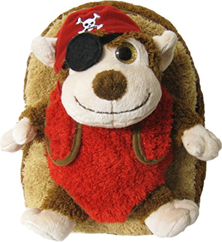 Kreative Kids Adorable Pirate Monkey Plush Backpack w/ Shiny Eyes and Removable Stuffed Animal