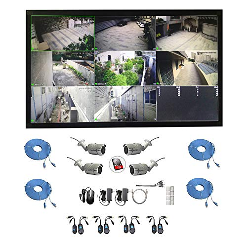 Borntechsz All in one Dahua dvr kit with LCD idmss 8ch XVR DHI-XVR4108HS KIT with 4 pcs of edssz Bullet Wall Ceiling Camera 8ch dahua xvr 4 Cables 22 inch - Bullet Ceiling