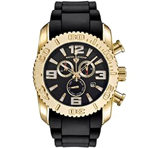 Swiss Legend Men's 20067-YG-01 Commander Collection Chronograph Yellow Gold Black Rubber Watch