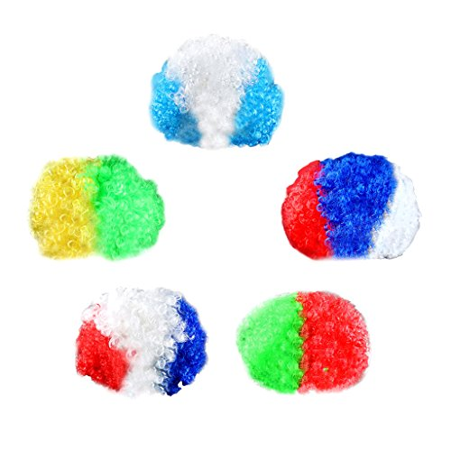 Prettyia 5/pack FIFA Football Team National Flag Colored Afro Wig Fans Supporters Costume (National Costume Brazil Kids)