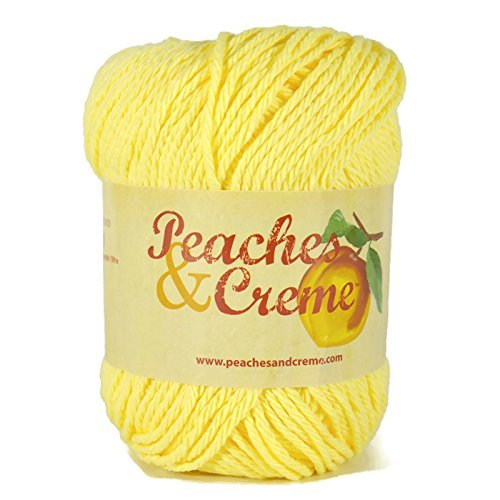 Peaches & Creme (Cream) Cotton Yarn Sunshine 2.5 oz. (Solid Yellow) - Shine Yarn Worsted