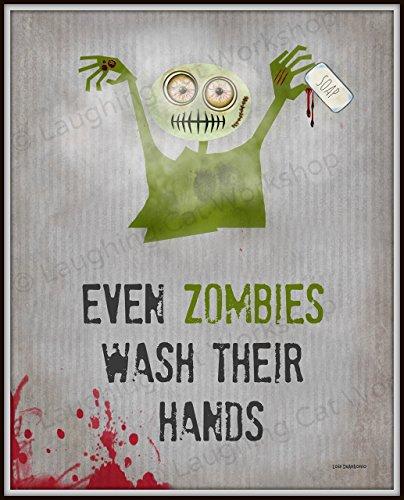 Zombies Bathroom print Funny bathroom art Funny Zombie