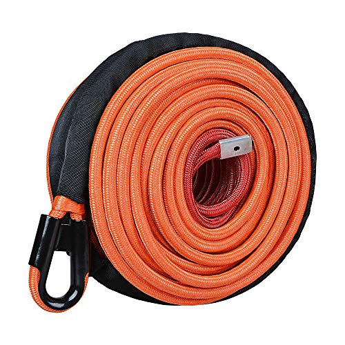 (Astra Depot 95ft 3/8 inch Orange Synthetic Winch Line Rope 22000LBs with All Heat Rock Guard for ATV UTV Truck RV KFI Marine Boat)
