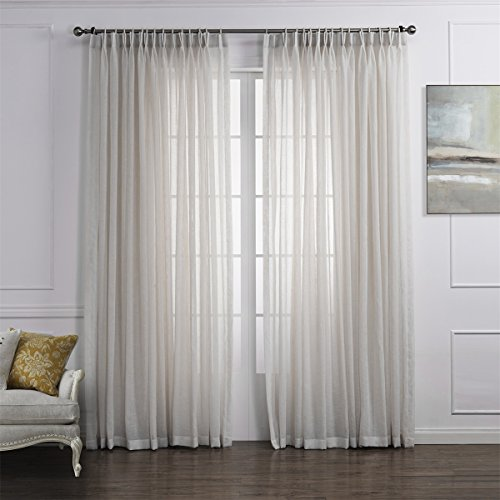 "Dreaming Casa Solid Sheer Curtains Poly Linen Textured Window Treatment Draperies Double Pleated 84 Inches Long for Bedroom 2 Panels (2 x 52 Wide x 84"" L) Off White"