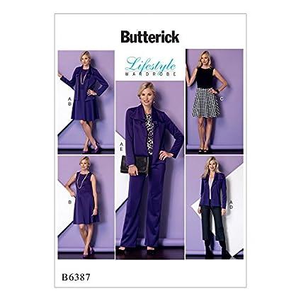 Butterick – patrón de costura Fácil 6387 Draped cuello chaqueta, vestido sin mangas y pantalones