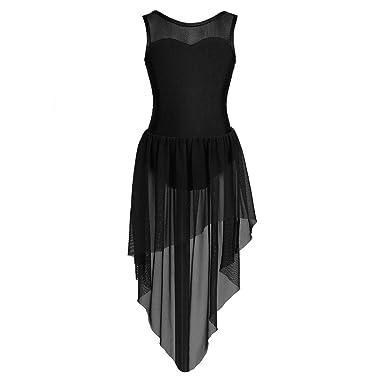 FEESHOW Kids Big Girls Lyrical Dance Dress Cutout Back Leotard Irregular  Skirt Ballroom Dancing Costumes Backless 0e547a329587
