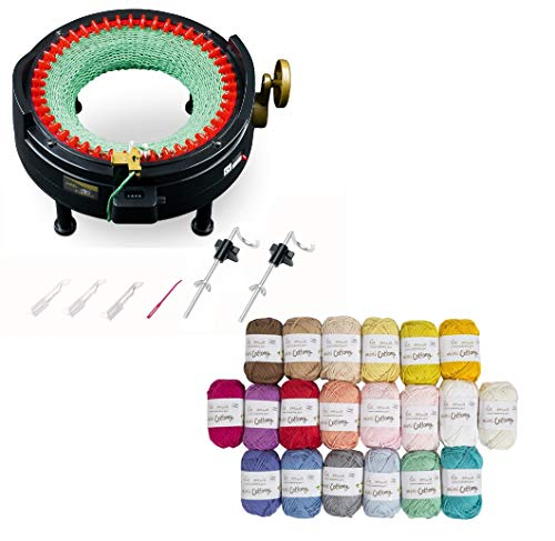 addi Express King Size Knitting Machine Kit Includes 46 Needles Bundle with 20 Skein 100% Cotton Mini Yarns ()