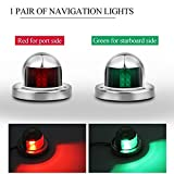 pontoon boat running lights - Powstro Boat Yacht LED Light, 2pcs Green and Red Marine 12V Stainless Steel Bow Navigation Lights
