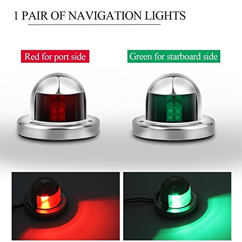 (Powstro Boat Yacht LED Light, 2pcs Green and Red Marine 12V Stainless Steel Bow Navigation Lights)