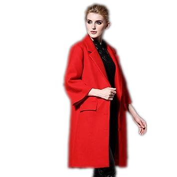 XYLUCKY Mangas de trompeta de la manera lana abrigos mujer lana lana abrigo mujeres de . big red . s: Amazon.es: Deportes y aire libre