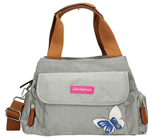 Madison Womens Ladies Designer Multi Zip Shoulder Day Bag with 3d Butterfly Motif -- SWANKYSWANS Light Grey
