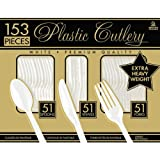 Amscan Reusable Party Premium Heavy Weight Plastic Assorted Cutlery, White