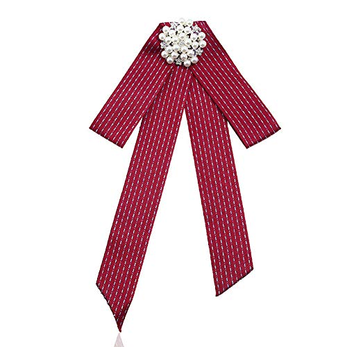 Women Rhinestone Striped Pearl Satin Ribbon Bow Tie Brooch Pin Wedding Jewelry | Color - #66