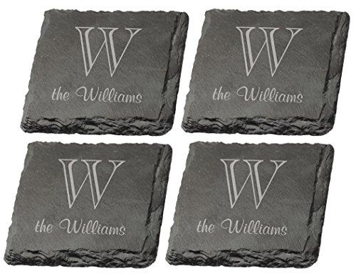Set of 4 Personalized Monogram Engraved P. Graham Dunn Slate - Slate Engraved