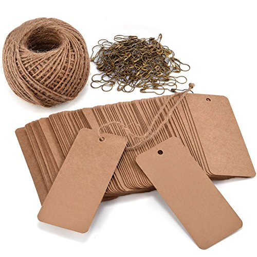 LOOMY 200 PCS Sale Kraft Marking Tags with Safety Pins and 157 Feet Natural String to Label Your Clothes for The Garage Sale/Yard Sale/Consignment Sale/Tag Sale