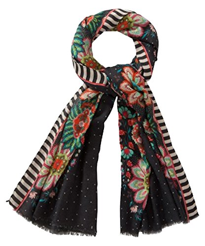 Oilily Travel Flower Shawl Charcoal