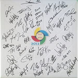 2013 Team Italy Autographed Hand Signed 2013 World Baseball Classic Base with 36 Signatures Total and Proof Photos of Signing, COA Anthony Rizzo