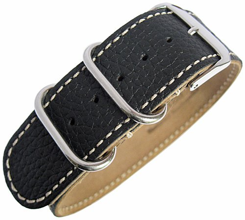 Fluco UTC G10 22mm Black Leather Watch Strap by Fluco