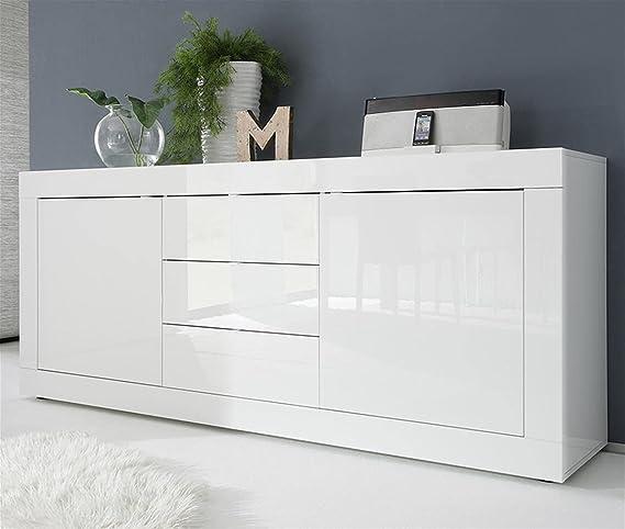 SKM Buffet Blanc Brillant 80x36x75 cm Agglom/ér/é