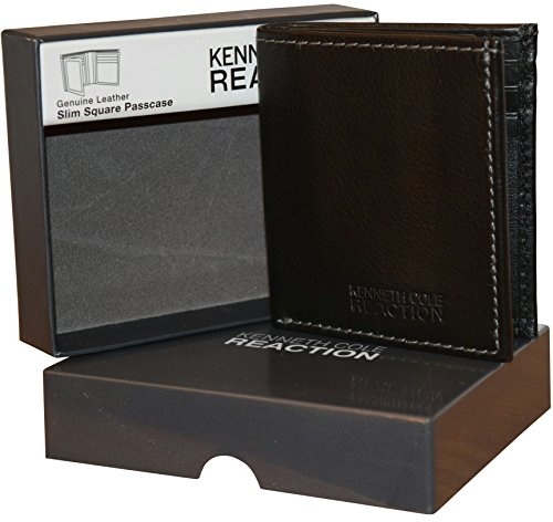 Kenneth Cole Genuine Wallet - Kenneth Cole Reaction Men's Genuine Leather Passcase Wallet With Gift Box - Black