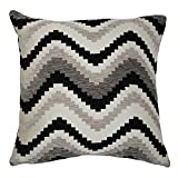 McAlister Navajo Decorative Pillow Cover Case | 17x17 Navy Denim Blue & White | Soft Textured Chenille Zig Zag Chevron | Modern Aztec Moroccan Accent Décor