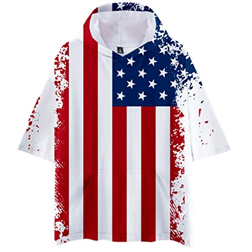 (Zackate Mens Short Sleeve Hooded T-Shirts USA Flag Printed Sports Hoodies Sweatshirts Blouse Tops XXS-4XL White)