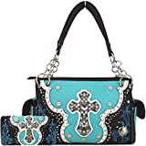Western Style Rhinestone Cross Laser Cut Country Purses Women Handbags Shoulder Bag Wallet Set Turquoise