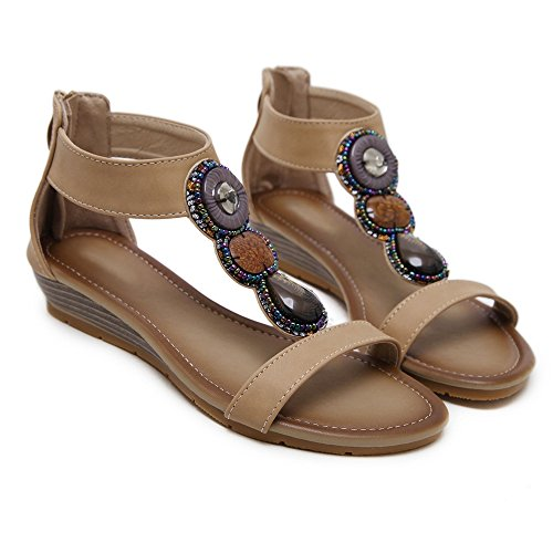 RAZAMAZA Apricot RAZAMAZA Sandales Femmes Plates Sandales pwqxpPS6r