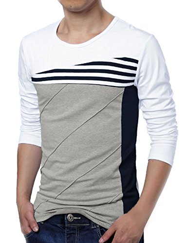 uxcell Men Striped Panel Color Block Round Neck Long Sleeve Pullover T-Shirt (US 34) Small White ()