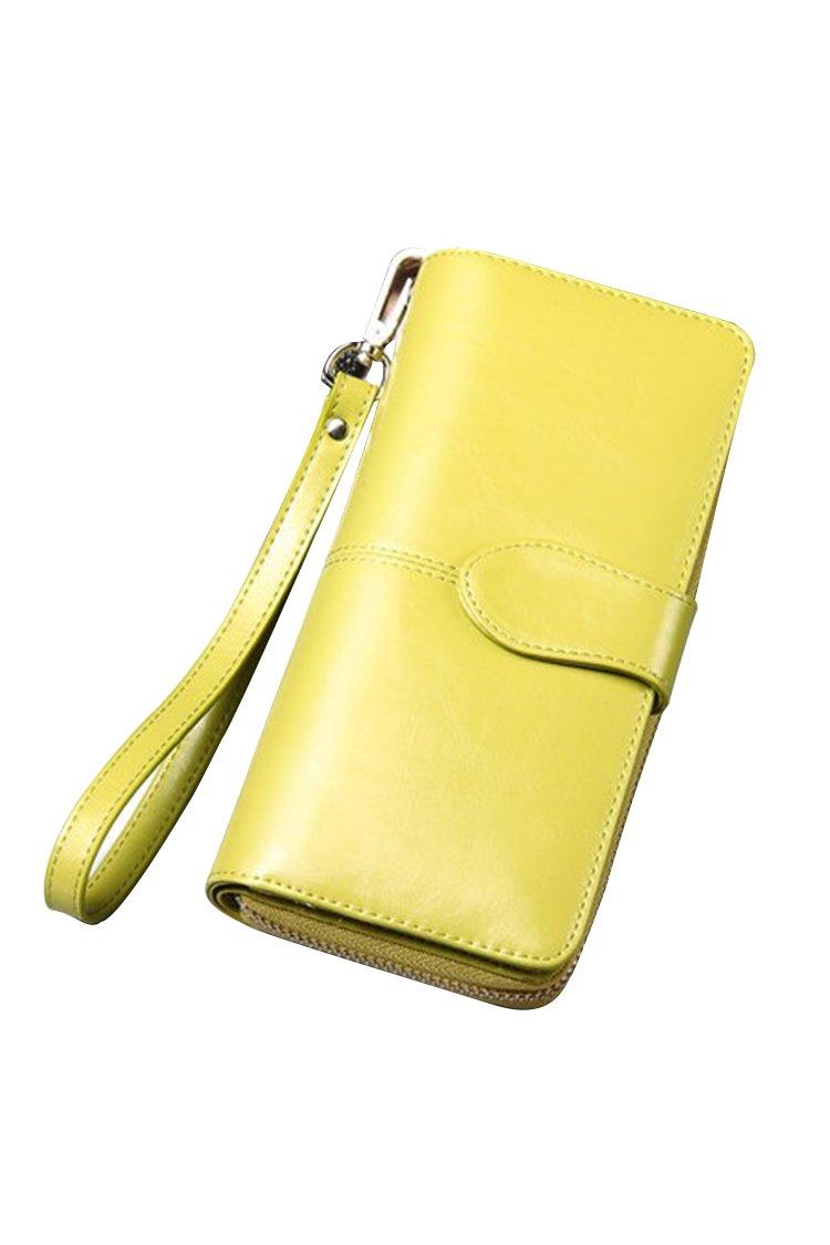 Women's Blocking Leather Wallet Large Capacity Wristlet Handbag Clutch Fluorescence Green