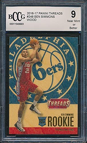 2016-17 Panini Threads Wood #248 Ben Simmons Rookie Card Graded BCCG 9