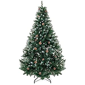 Best Choice Products 6ft Hinged Artificial Christmas Tree for Home Living Room Festive Holiday Decoration w/Snow Flocked Tips, Pine Cones, Metal Stand - Green 116