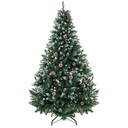 (Best Choice Products 6ft Hinged Artificial Christmas Tree for Home Living Room Festive Holiday Decoration w/Snow Flocked Tips, Pine Cones, Metal Stand -)