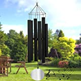 Loving Basso Wind Chimes Outdoor Large Deep Tone,45In Sympathy Windchime Large with 6 Big Tubes Tuned Bass Tone,Memorial Wind Chimes Amazing Grace for Mom Father,Garden Decor,(A Card) Matte Black