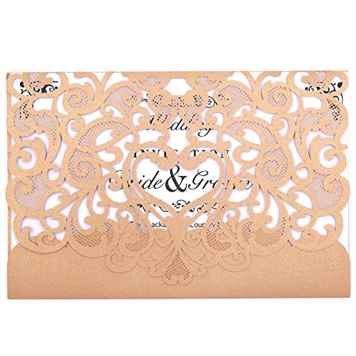 Wedding Invitation Card 50 pack, FOMTOR Laser Cut Wedding Invitations Kit with Blank Printable Paper and Envelopes (Gold+ -
