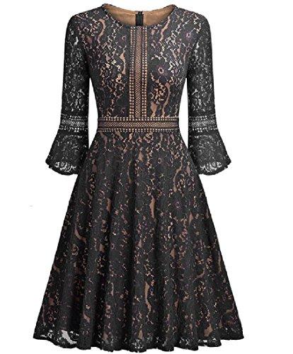 Coolred-femmes Manches Pagode Lacework Coutures Mi Robe De Cocktail Longueur Noir