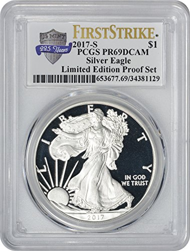 American Eagle Pcgs Coin Set - 2017 S American Silver Eagle Limited Edition Proof Set, First Strike, 225th Anniversary Label Dollar PR69DCAM PCGS