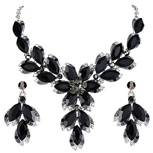 Necklace Silver Black Rhinestone - BriLove Wedding Bridal Necklace Earrings Jewelry Set Crystal Marquise Leaf Petal Flower Statement Necklace Dangle Earrings Set Black Silver-Tone