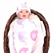 Galabloomer baby sleep swaddle blanket large and bow hat set ananas fox flower elephant print swaddle blanket 47 inch X 47 inch