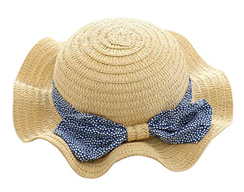 Spring/Summer Cotton Baby Girls 's Outdoor Bowknot Sun Hat/Beach Hat (20.1 in(51 cm)/2-4 Years Old, Straw hat) ()