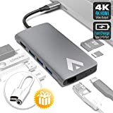 USB C Hub Connect up to 3 USB 3.0 Devices HDMI Ethernet with Stable Wired Access Type-C SD & TF Card Adapter Faster Charging & Data Transfer Bonus Audiojack Cable ...