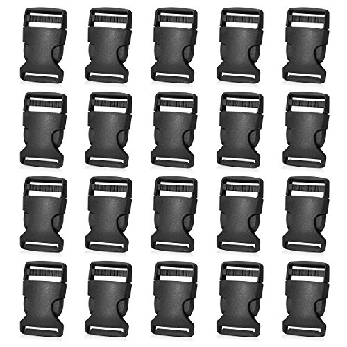 20 Pack 1 Inch Side Release Plastic Buckles (Black) -